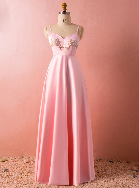 Plus Size Pink Spaghetti Straps Satin Backless Floor Length Prom Dress