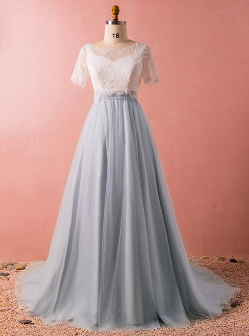 Plus Size Gray Tulle Lace Two Piece Short Sleeve Prom Dress