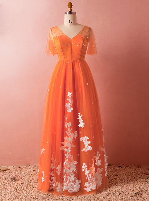 Plus Size Orange V-neck Tulle Short Sleeve Backless Prom Dress