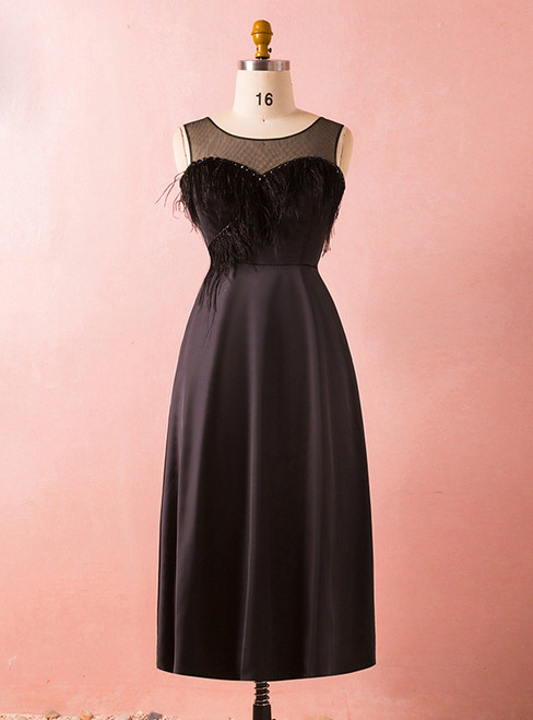 Plus Size Black Satin Short Little Black Prom Dress With Feather