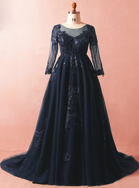 Plus Size Blue Tulle Appliques Long Sleeve Floor Length Prom Dress