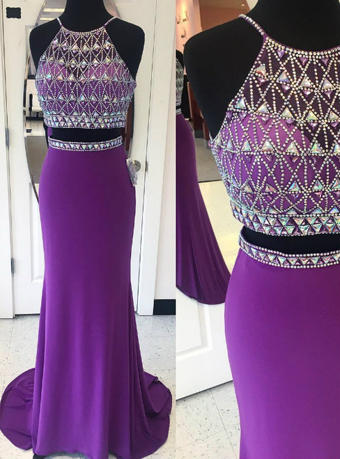 Mermaid Prom Dress Purple Prom Dress  Long Prom Dress