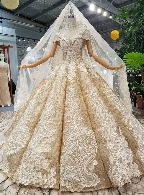 Gold Ball Gown Sequins Appliques Off The Shoulder Wedding Dress