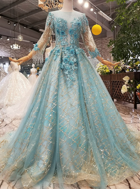 A-Line Blue Tulle Sequins 3/4 Sleeve Appliques Floor Length Wedding Dress