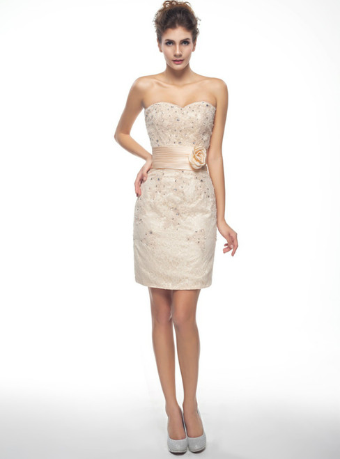 Champagne Lace Appliques Short Mother Of The Brides Dress With Jacket