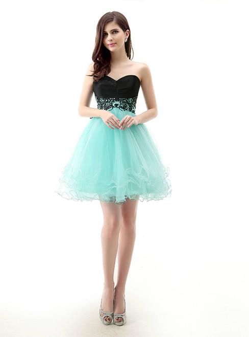 Blue Tulle Black Satin Sweetheart Neck Short Mini Homecoming Dress