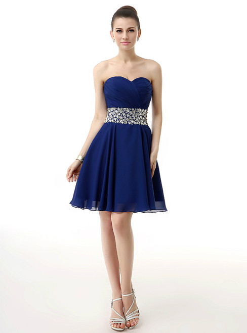 Blue Chiffon Sweetheart Neck With Crystal Homecoming Dress