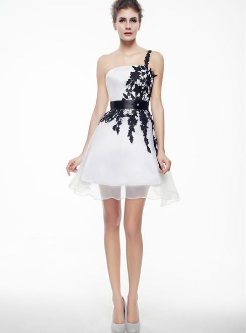White Chiffon One Shoulder Appliques Mini Homecoming Dress