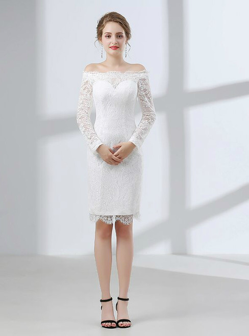 Sheath White Lace Off The Shoulder Long Sleeve Prom Dress