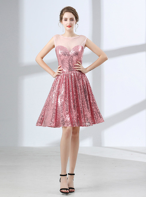 A-Line Pink Sequins Knee Length Sleeveless Homecoming Dress
