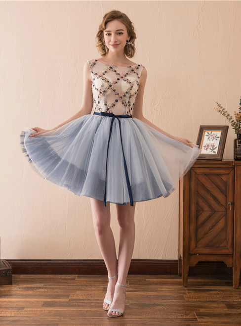 A-Line Blue Tulle Appliques Short Homecoming Dress With Sash