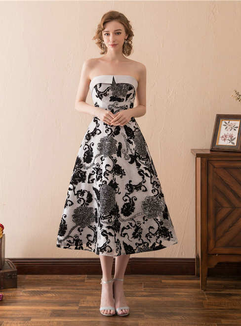 A-Line Satin Print Strapless Tea Length Homecoming Dress