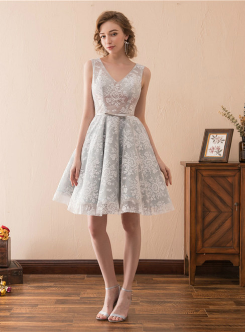 A-Line Gray Lace V-neck Backless Short Homecoming Dress