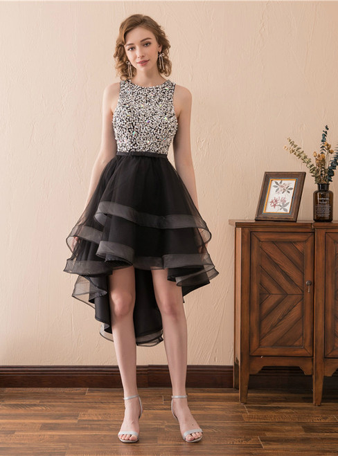 Black Tulle Hi Lo Backless Little Black Homecoming Dress With Beading