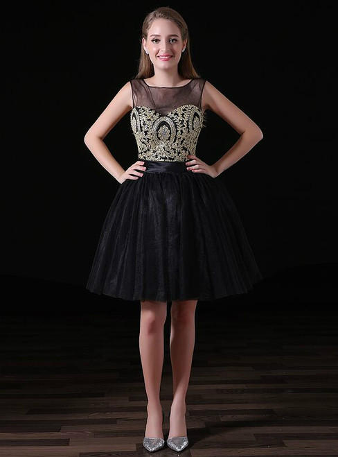 Black Tulle Gold Appliques Backless Short Little Black Homecoming Dress