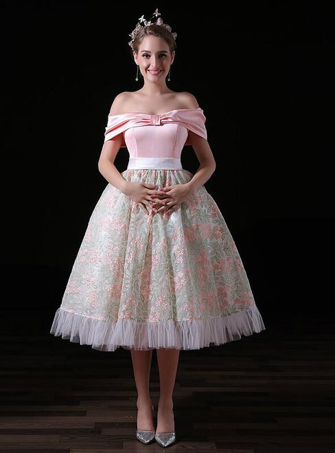 Pink Satin Print Tulle Off The Shoulder Princess Homecoming Dress