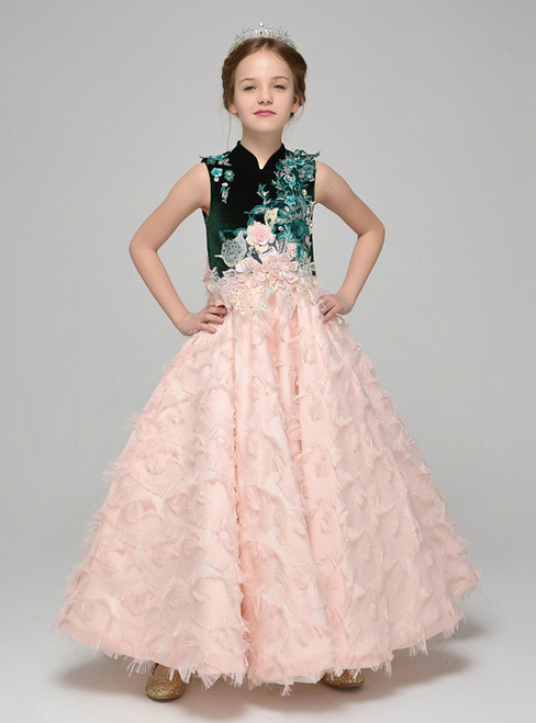 A-Line Pink Appliques High Neck Ankle Length Flower Girl Dress