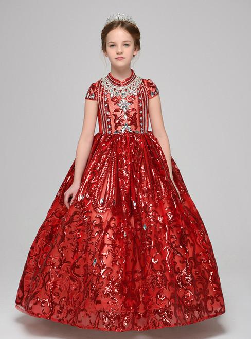 Red Ball Gown High Neck Cap Sleeve Sequins Flower Girl Dress