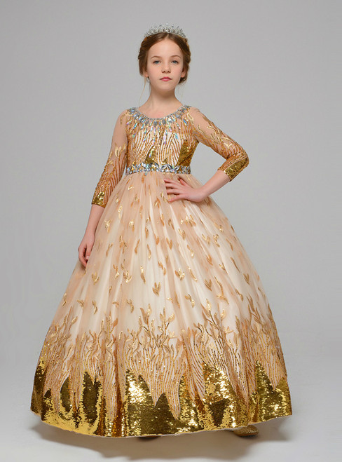 Gold Tulle Sequins Long Sleeve Backless Flower Girl Dress