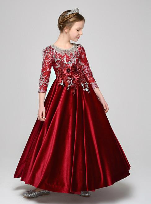 Burgundy Velvet 3/4 Sleeve Appliques Beading Flower Girl Dress