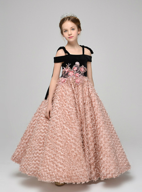 Pink Lace Black Velvet Spaghetti Straps Appliques Flower Girl Dress