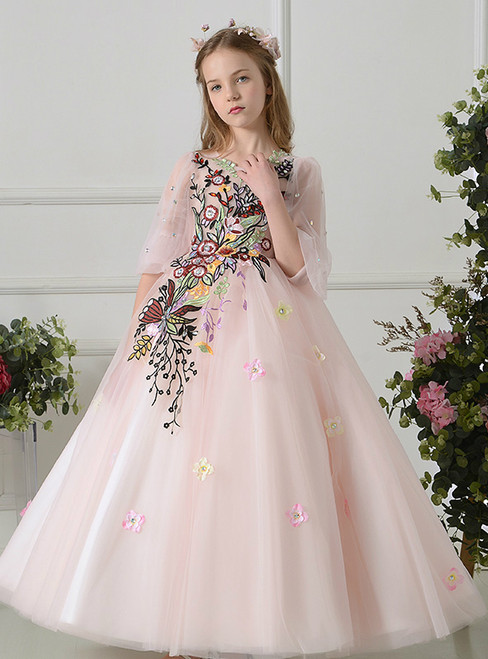 Ball Gown Pink Tulle Short Sleeve Embroidery Flower Girl Dress