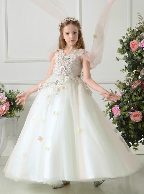 A-Line V-neck White Tulle Appliques Flower Girl Dress