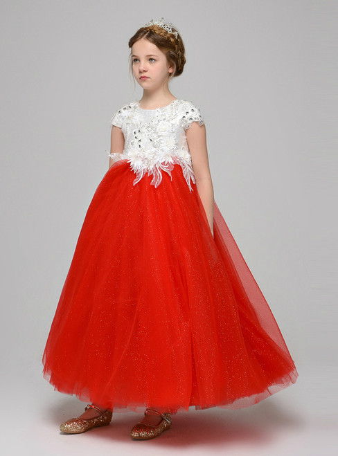 A-Line Red Tulle White Lace Appliques Ankle Length Flower Girl Dress