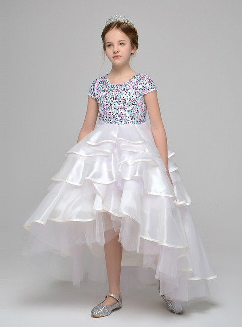 White Hi Lo Tulle Organza Cap Sleeve Sequins Flower Girl Dress