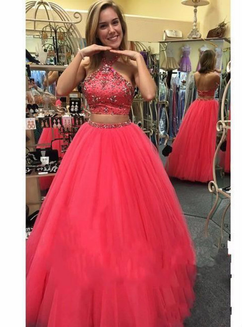 Sexy Ball Gown Party Dresses Two Piece Halter Tulle Top Beaded