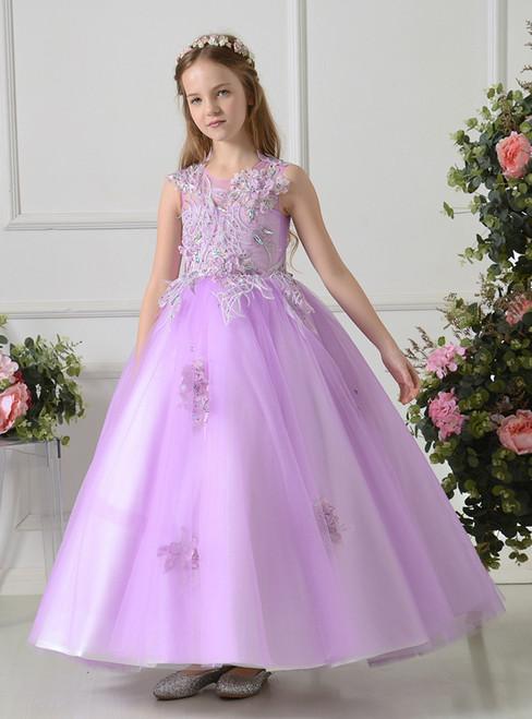 Sweet Ball Gown Purple Tulle Appliques Flower Girl Dress
