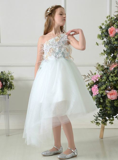 White Tulle One Shoulder Appliques Feather Flower Girl Dress