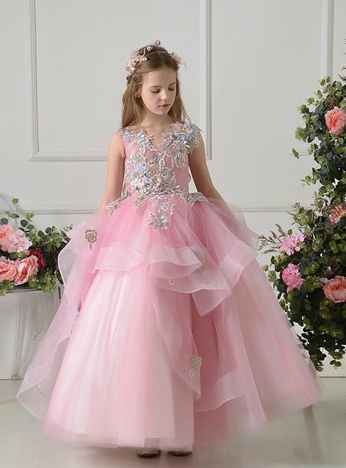 Pink Ball Gown Tulle Appliques Sleeveless Flower Girl Dress
