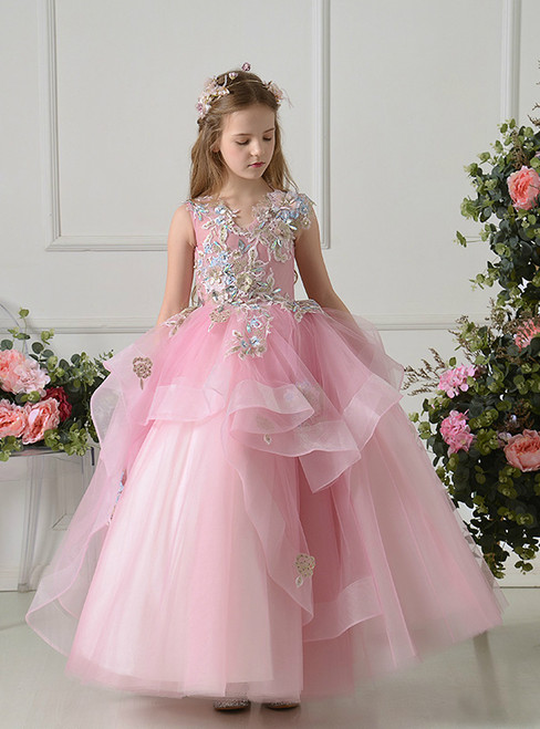 Pink Ball Gown Tulle Appliques Sleeveless Flower Girl Dress