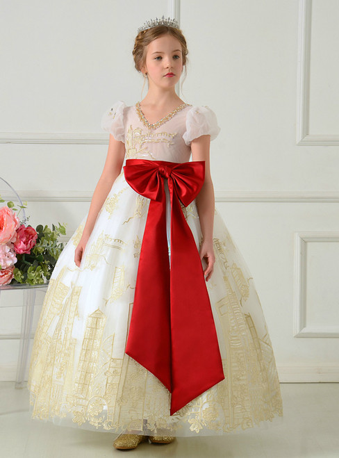 White Tulle Gold Appliques Cap Sleeve With Big Bow Flower Girl Dress