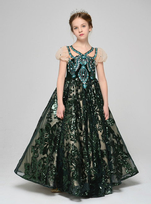 Ball Gown Dark Green Sequins Cap Sleeve Flowerr Girl Dress