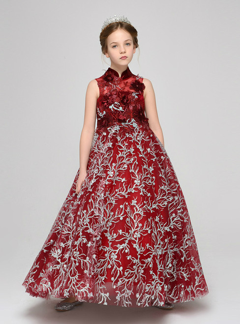 Red High Neck Tulle Sequins Appliques Flower Girl Dress