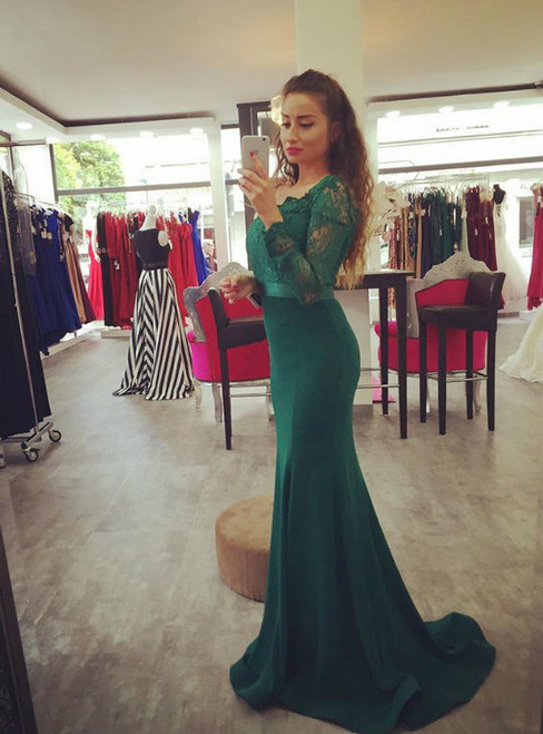 Fashion Mermaid Prom Dress Dark Green Off The Shoulder Lace Satin