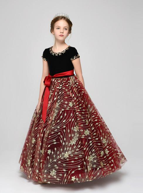 Red Sequins Tulle Black Velvet Cap Sleeve Flower Girl Dress
