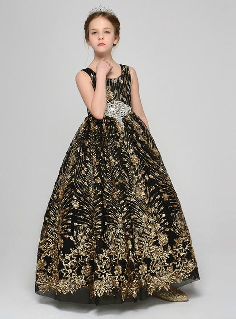 Black Tulle Sequins Scoop Sleeveless Flower Girl Dress