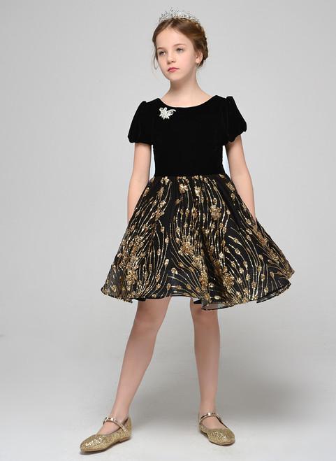 Black Sequins Velvet Short Sleeve Short Flower Girl Dress