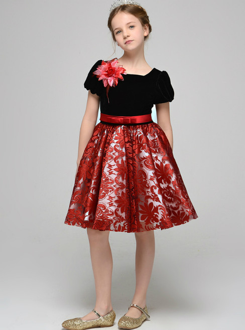 Black Velvet Red Lace Puff Sleeve Flower Girl Dress With Bow