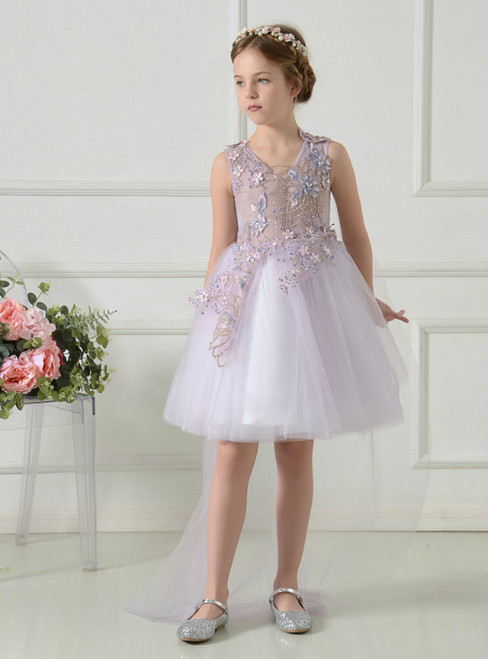 Light Purple V-neck Tulle Appliques Short Flower Girl Dress