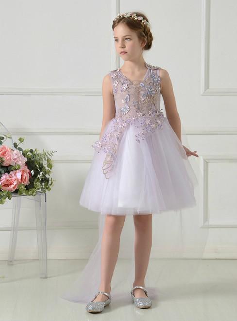 Light Purple V-neck Tulle Appliques Short Flower Girl Dress