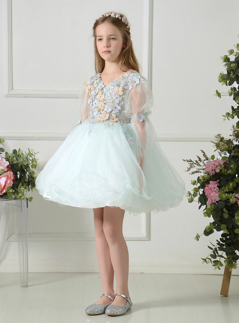 Light Green Tulle V-neck Long Sleeve Appliques Mini Flower Girl Dress