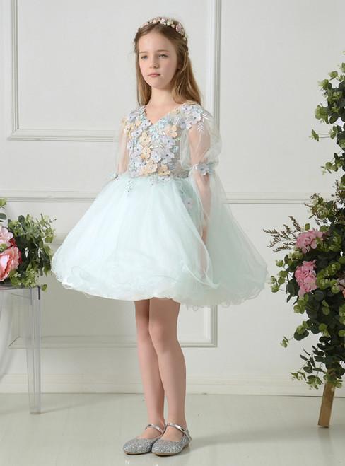 Light Green Tulle V-neck Long Sleeve Appliques Mini Flower Girl Dress