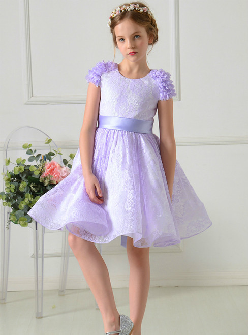 A-Line Purple Lace Cap Sleeve Flower Girl Dress With Sash