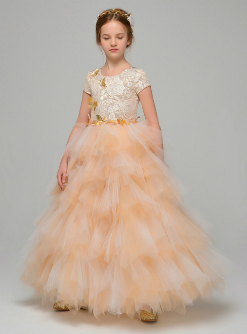 Orange Tulle Lace Cap Sleeve Flower Girl Dress With Butterfly