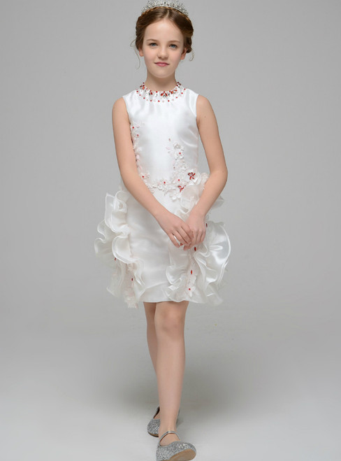 White Sheath Oragnza Appliques Flower Girl Dress With Crystal