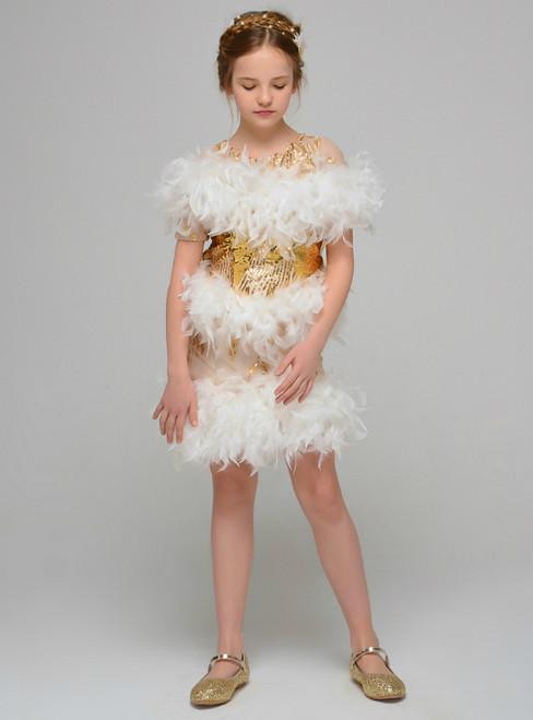 Gold Sequins Sheath Short Sleeve Feather Mini Short Flower Girl Dress